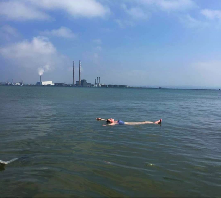 Beth takes a spontaneous dip in the sea during a walk