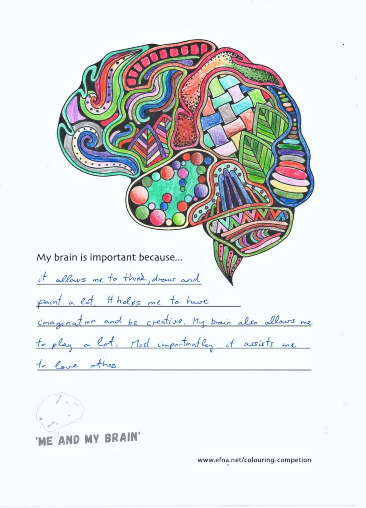 My little daughter Szofia is a six year old preschooler, and lives in a small Hungarian village. Her favorite pastime is drawing, painting, coloring. She found the topic of the human brain interesting, and we talked a lot about it in relation to the competition. She created the work with great love and enthusiasm, because she loves plush toys. She made the coloring completly independently based on her own fantasy.